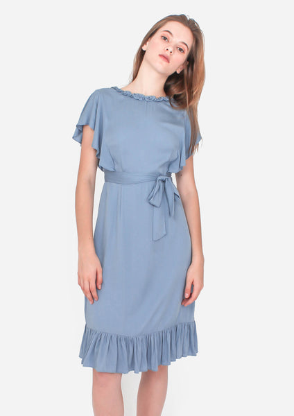 Flutter Midi Dress (Dusty Blue) - Moxie