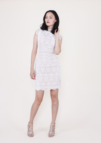 Maison Lace Dress (White) - Moxie