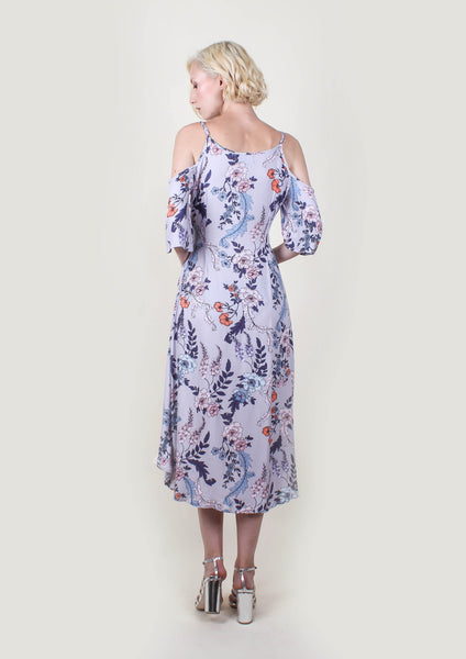 Wisteria Blooms Tie Midi Dress - Moxie