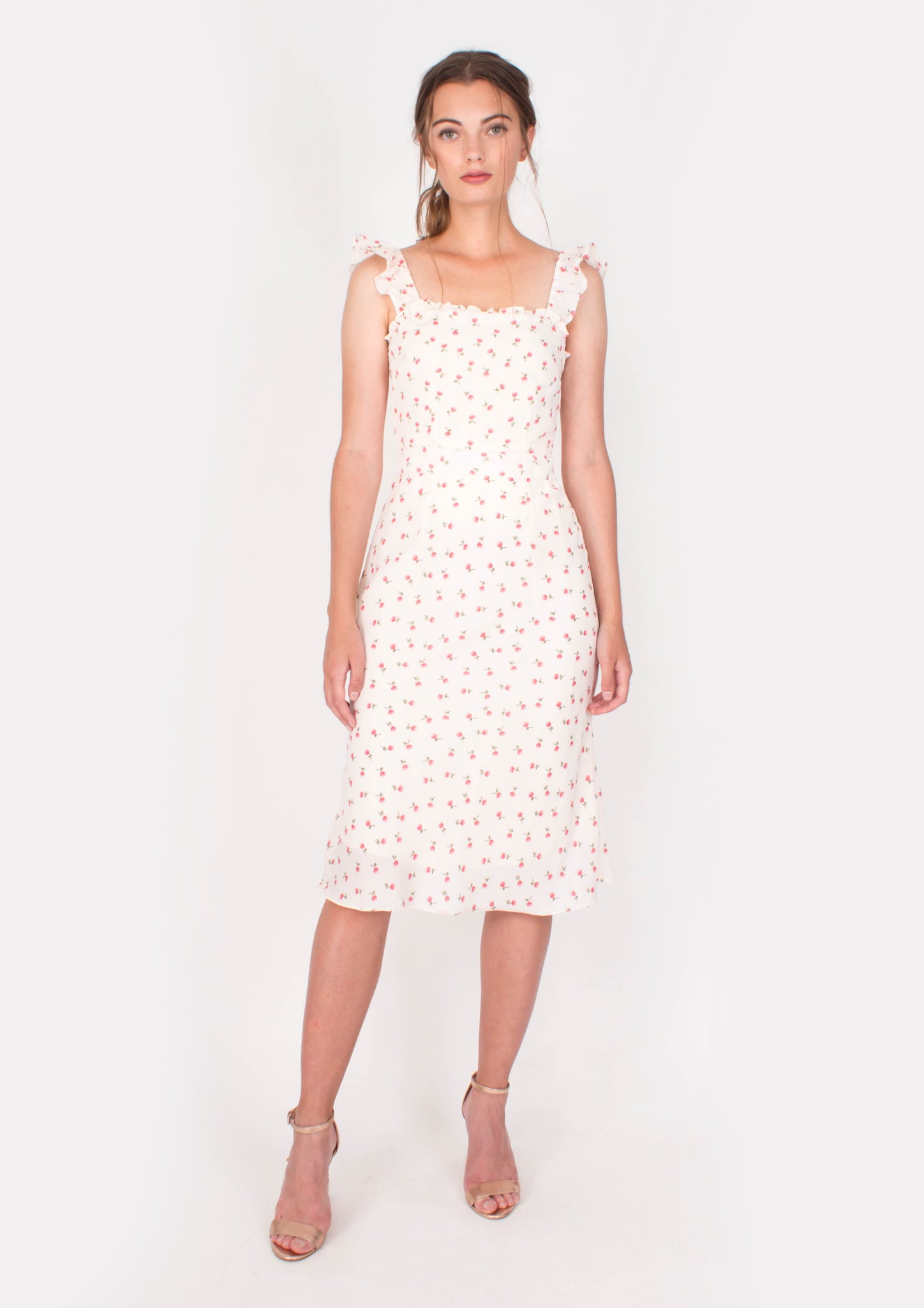 Sanguine Midi Dress (White) - Moxie
