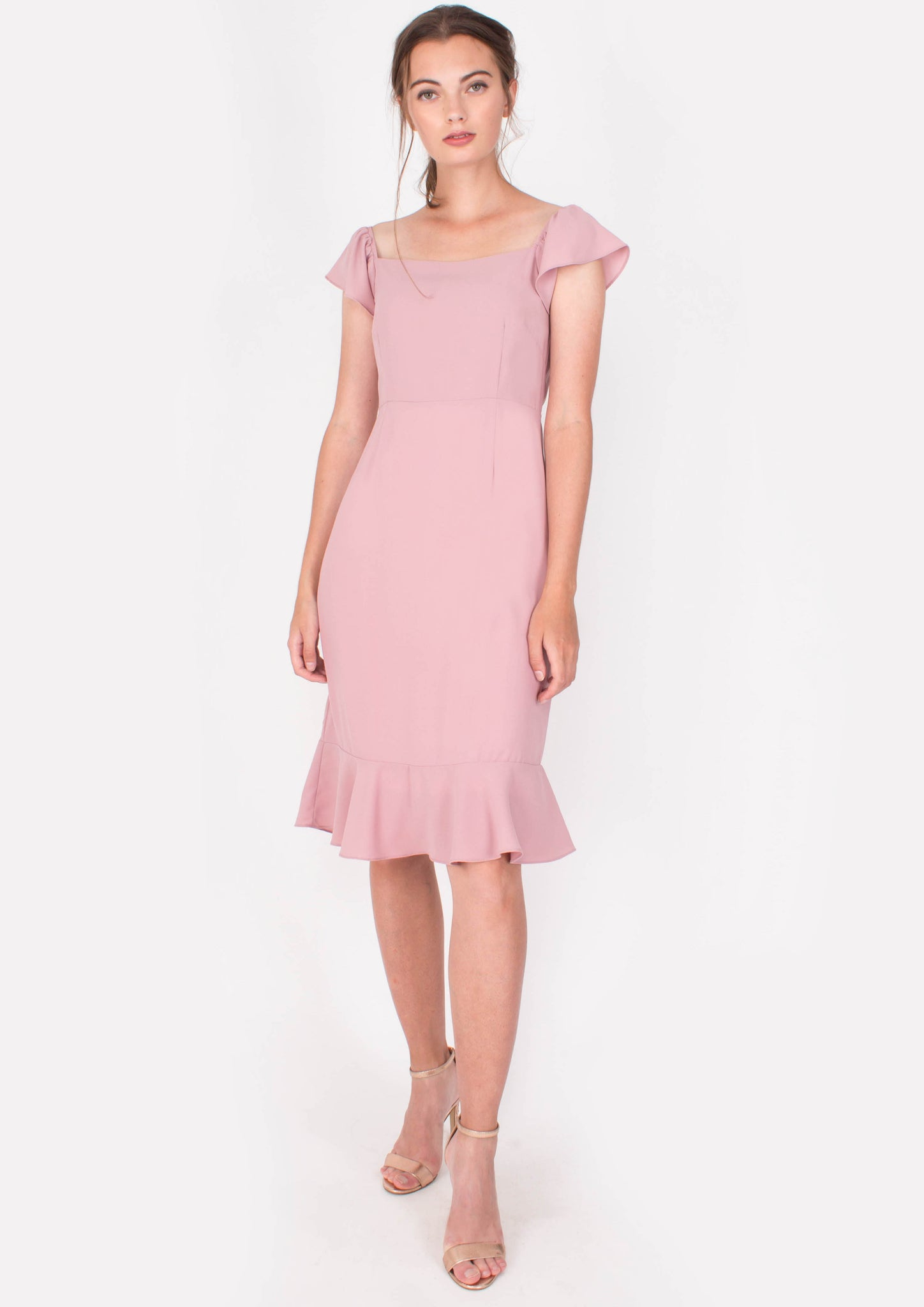 Vigour Midi Dress (Pink) - Moxie