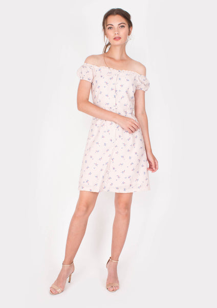 Grace Off-shoulder Mini Dress (Pink) - Moxie