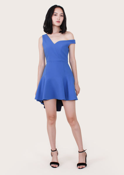 Elda Asymmetric Fit Flare Dress (Blue) - Moxie