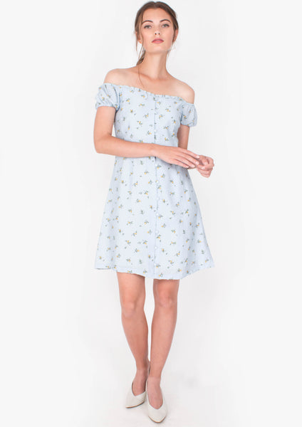 Grace Off-shoulder Mini Dress (Blue) - Moxie