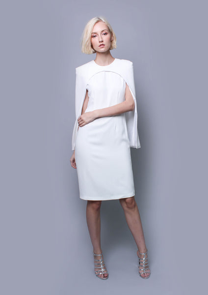 Strike Cape Dress (White)