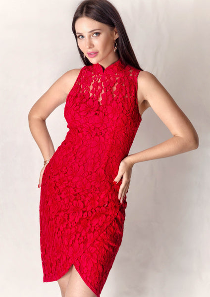 Chun Sleeveless Lace Qipao (Red) - Moxie