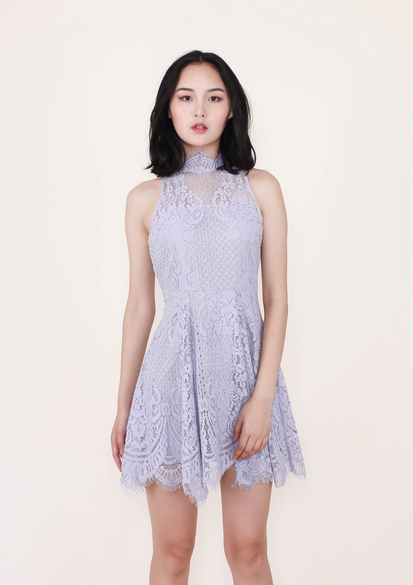 Eva Halter Lace Dress (Lilac) - Moxie