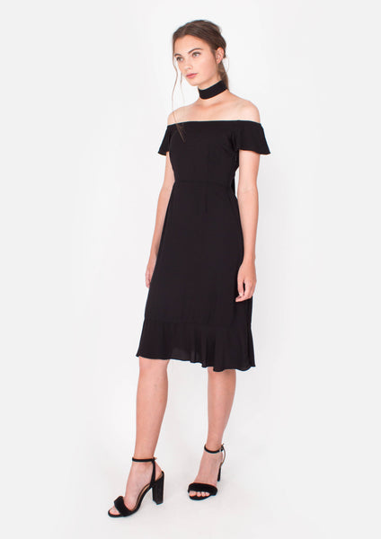 Lucent Midi Dress (Black) - Moxie