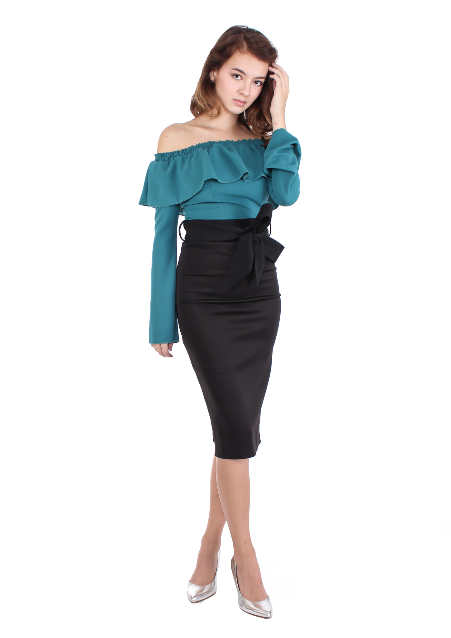 Off-shoulder Ruffle Top (Teal)