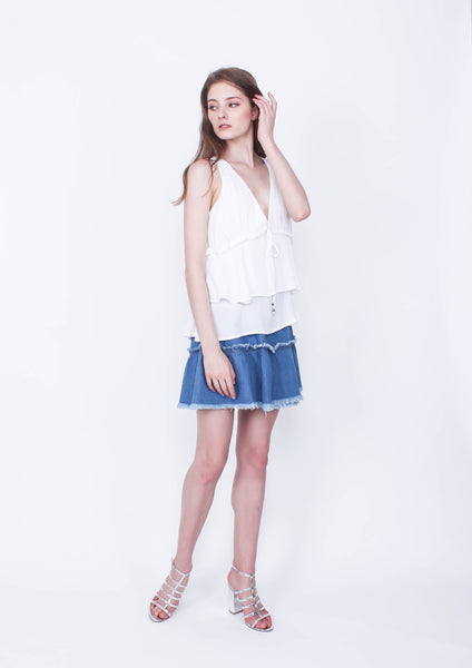 Honey Tiered Top (White) - Moxie