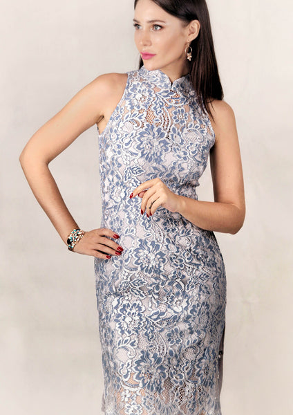Ruyi Sleeveless Side Slits Lace Qipao (Blue/Silver)