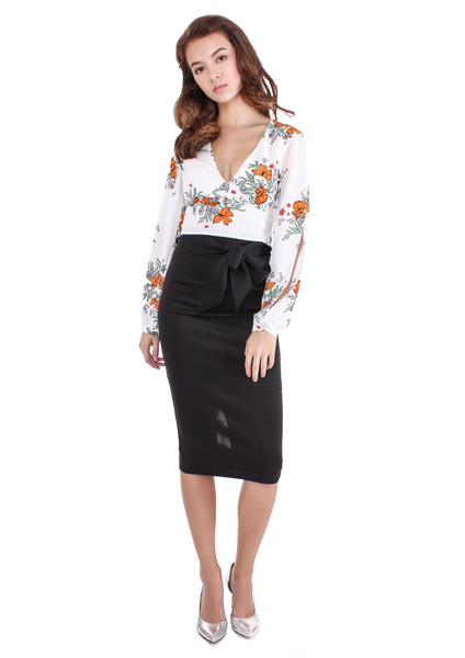 Autumn Floral Split Sleeve Crop Top (White) - Moxie