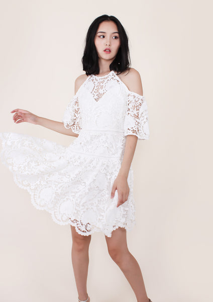 Padua Embroidered Cold Shoulder Dress (White) - Moxie