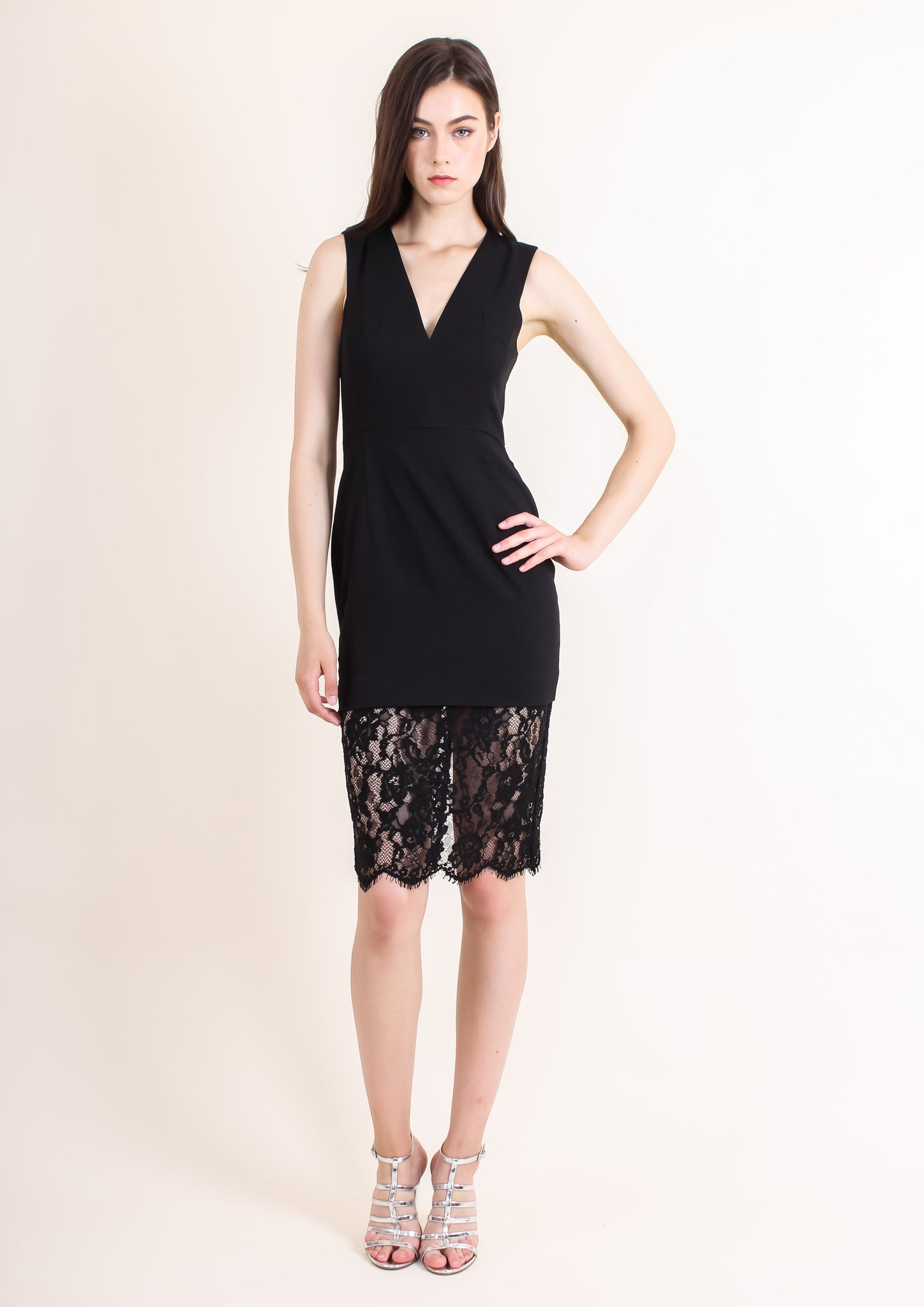 Nicola Lace Shift Dress (Black) - Moxie