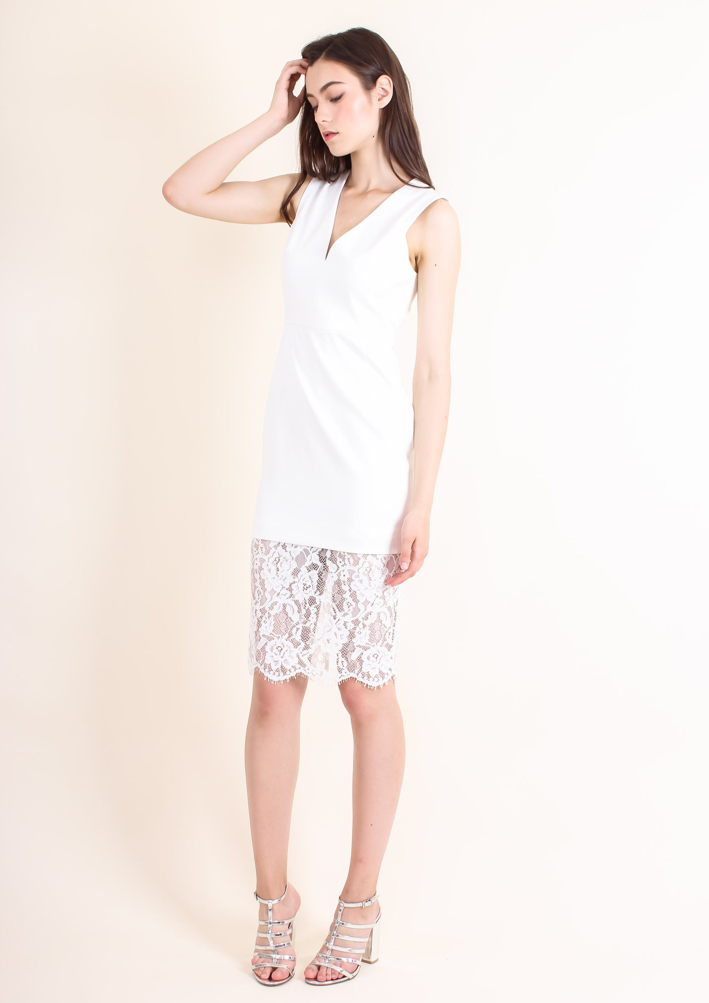 Nicola Lace Shift Dress (White) - Moxie