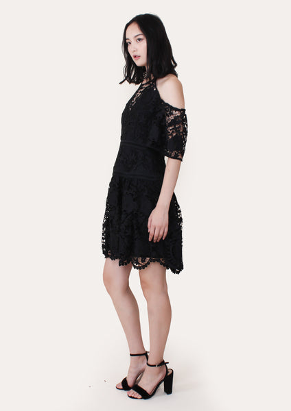 Padua Embroidered Cold Shoulder Dress (Black)