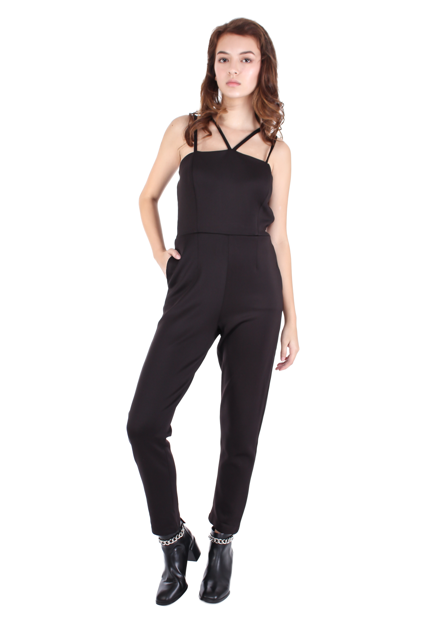 Amber Cross-front Jumpsuit (Black)
