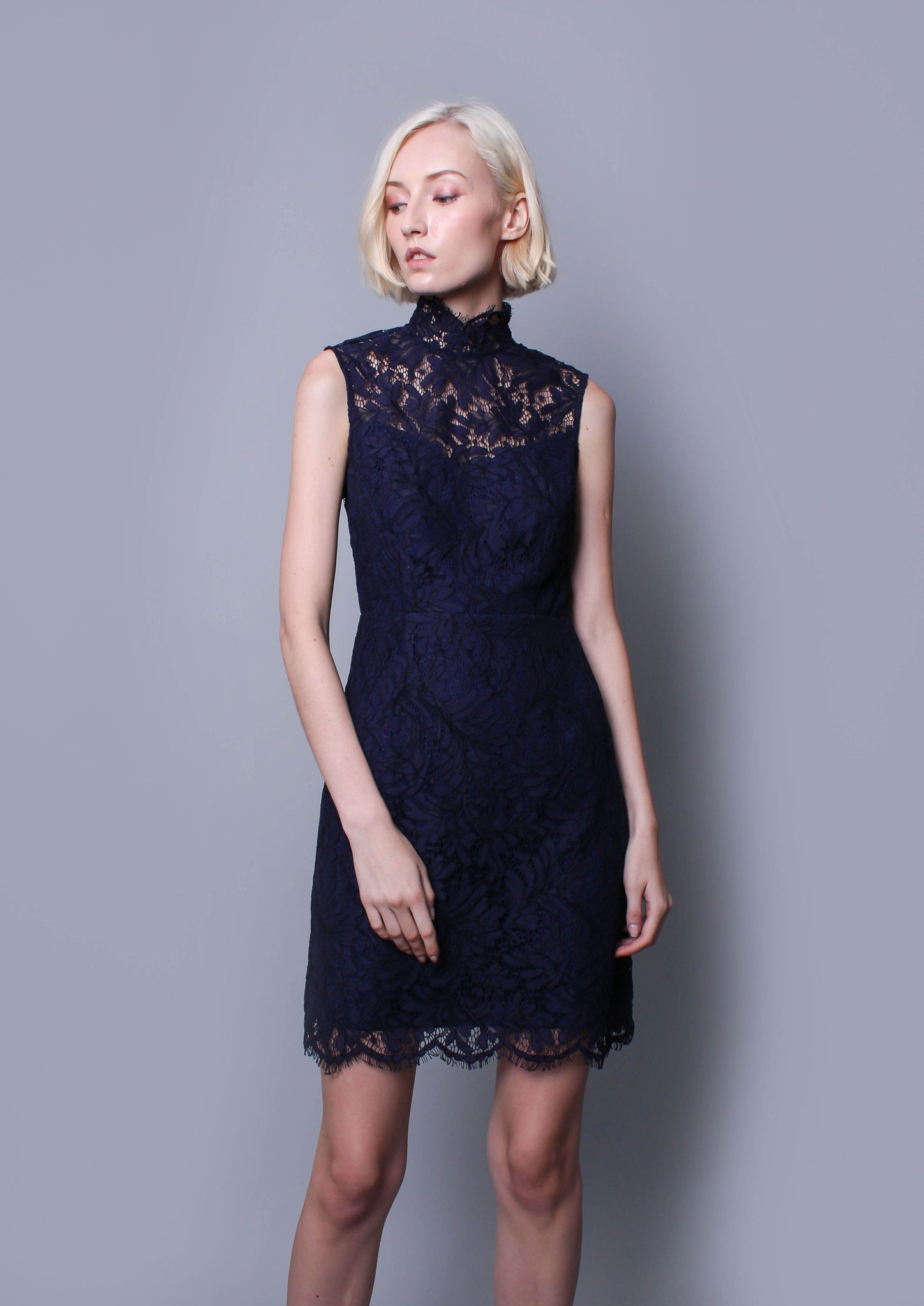 Coretta High Neck Lace Mini (Navy) - Moxie