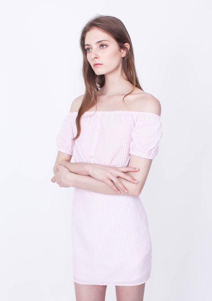 Gables Off Shoulder Crop (Pink/White)