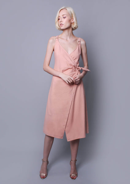 Wrap Midi Dress (Dusty Pink)