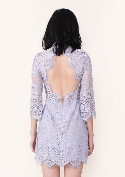Eva Backless Lace Shift Dress (Lilac) - Moxie