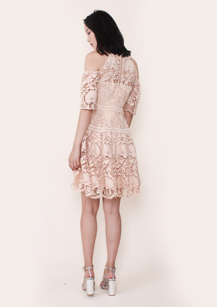 Padua Embroidered Cold Shoulder Dress (Peach)