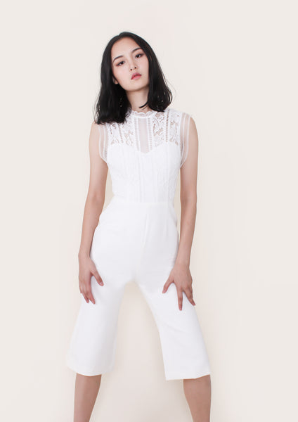 Renata Lace Trim Cropped Jumpsuit (Ivory)