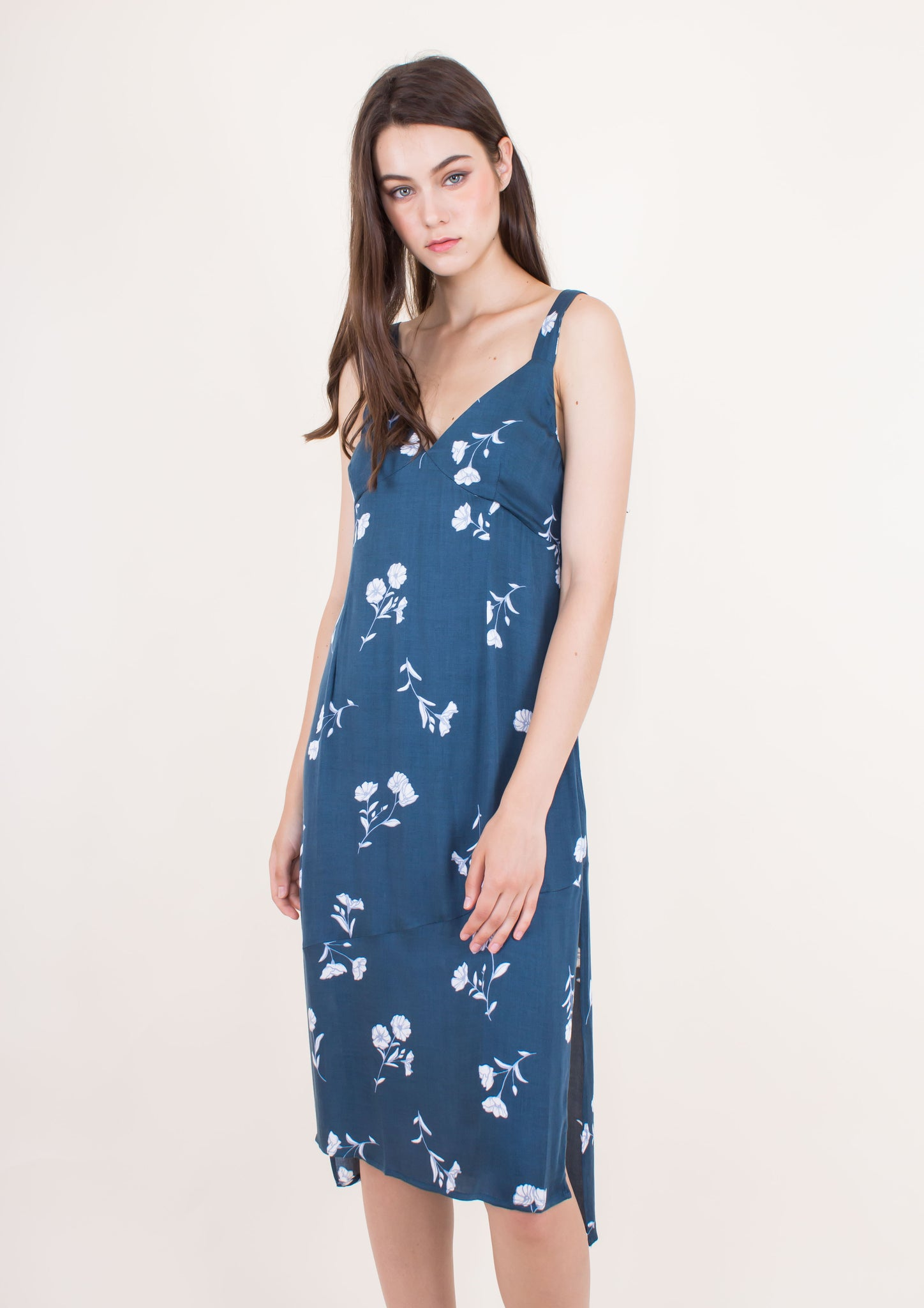 Falling Blooms Midi Slip Dress - Moxie