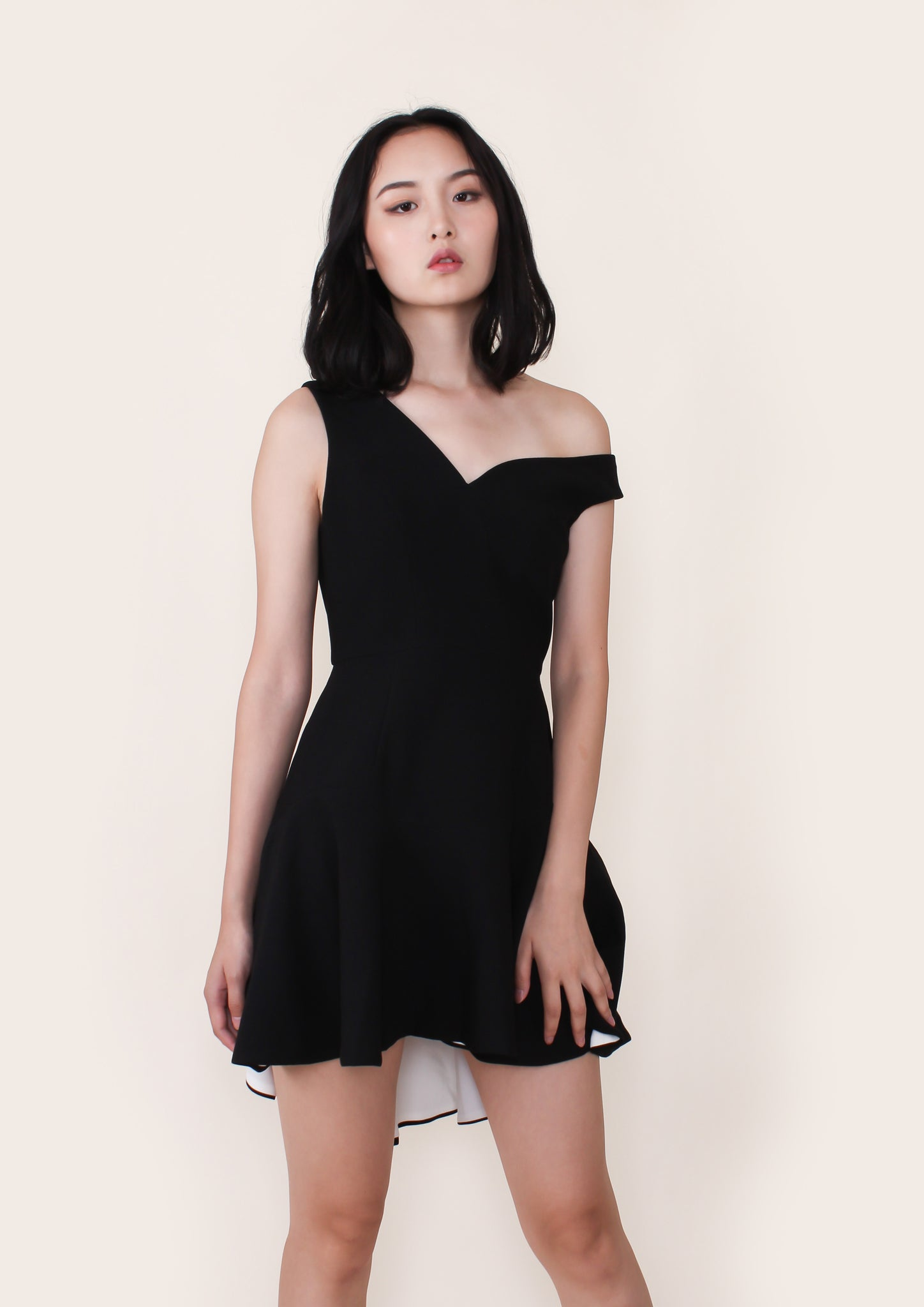 Elda Asymmetric Fit Flare Dress (Black) - Moxie