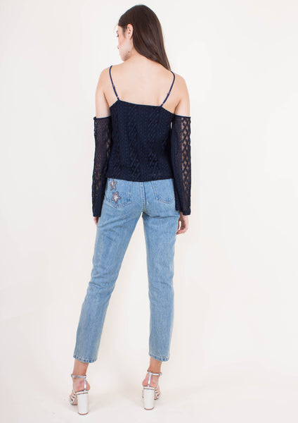 Nina Off-shoulder Top (Navy)
