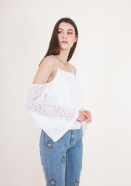 Nina Off-shoulder Top (White) - Moxie