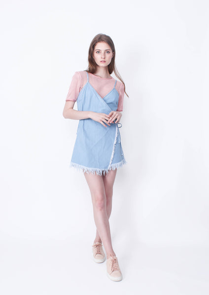 Momentary Wrap Playsuit (Light Blue) - Moxie