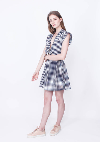 Locals only Gingham Dress (Wrap Front) - Moxie