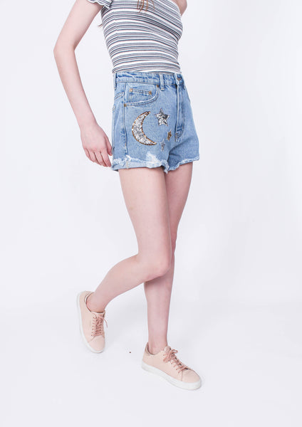Ziggy Sequin Patch Denim Short - Moxie