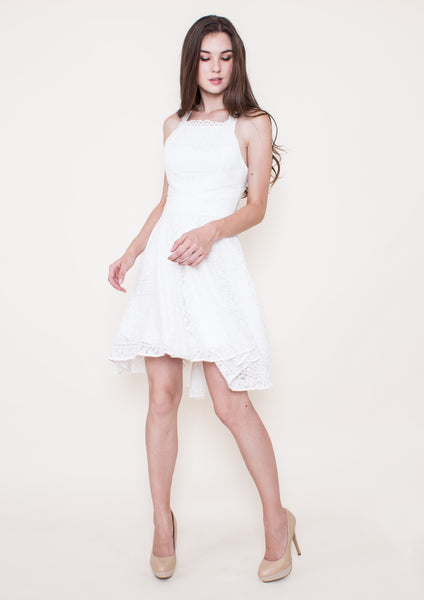 Simona Wrap Waist Flared Dress (White) - Moxie