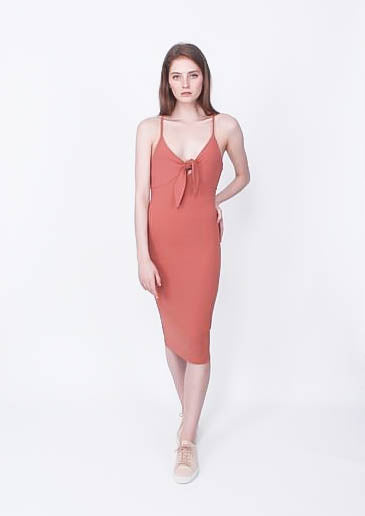 Rose Tie Front Midi Dress