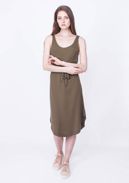 Ease in Jersey Waist Tie Dress (Khaki) - Moxie