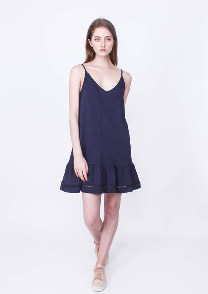 Dweller Slip Dress (Navy) - Moxie