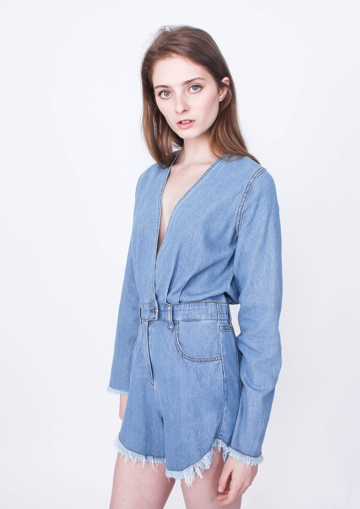 Out of Town Denim Playsuit - Moxie