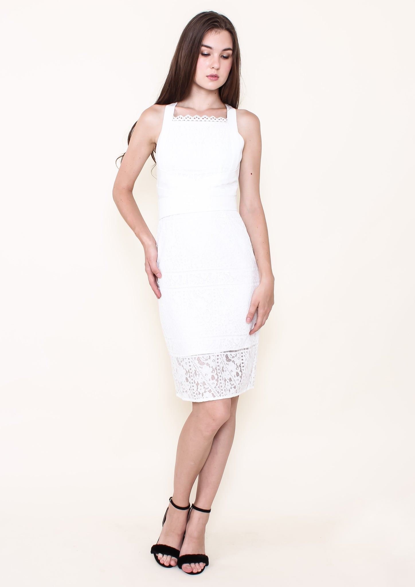 Simona Wrap Waist Pencil Dress (White) - Moxie