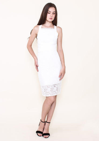 Simona Wrap Waist Pencil Dress (White)