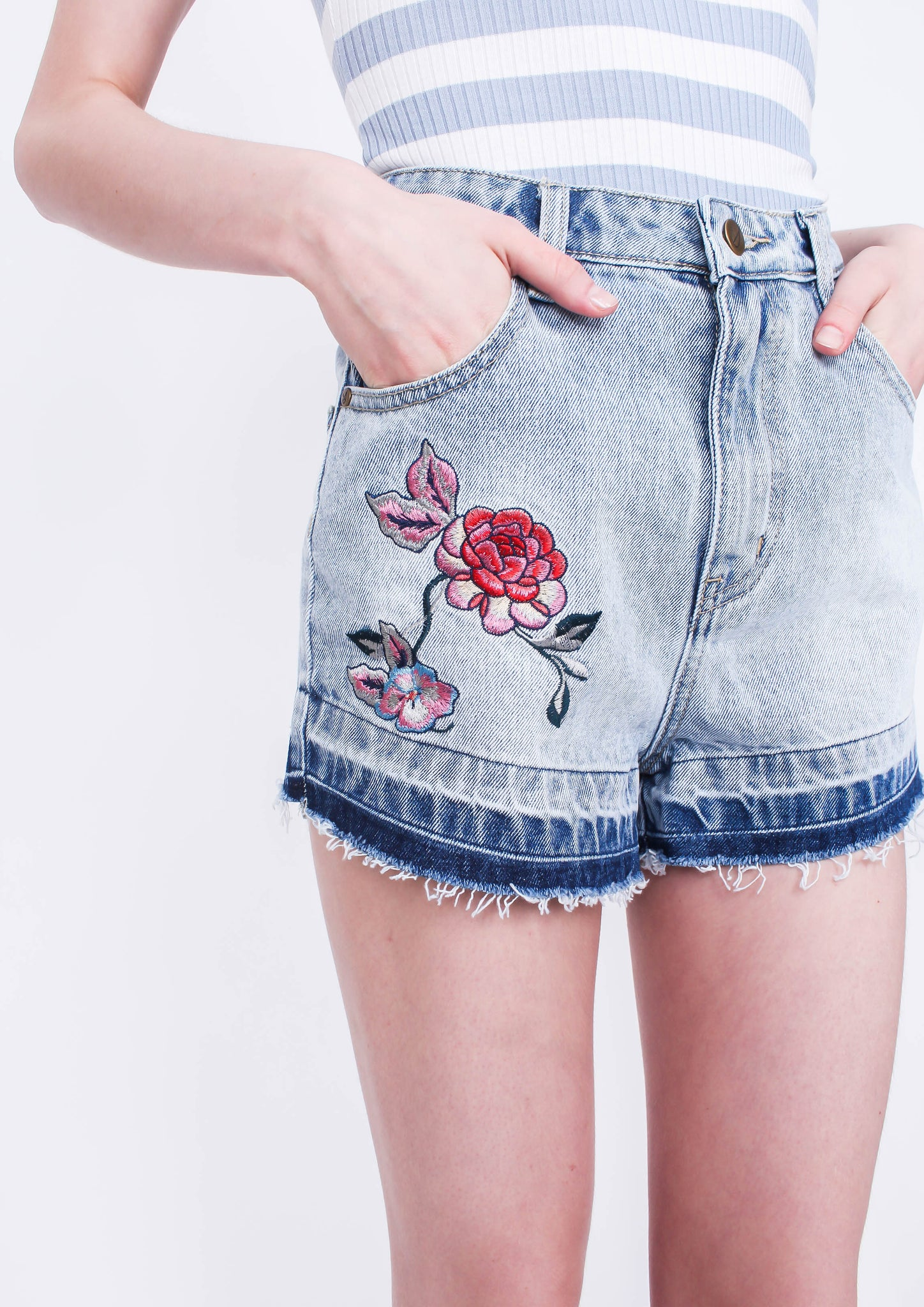 """Nurture"" Embroidered Shorts - Moxie"