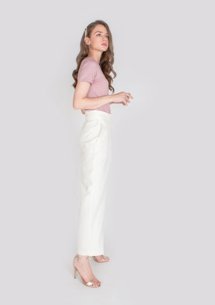 Alexa Belted Trousers (White) - Moxie