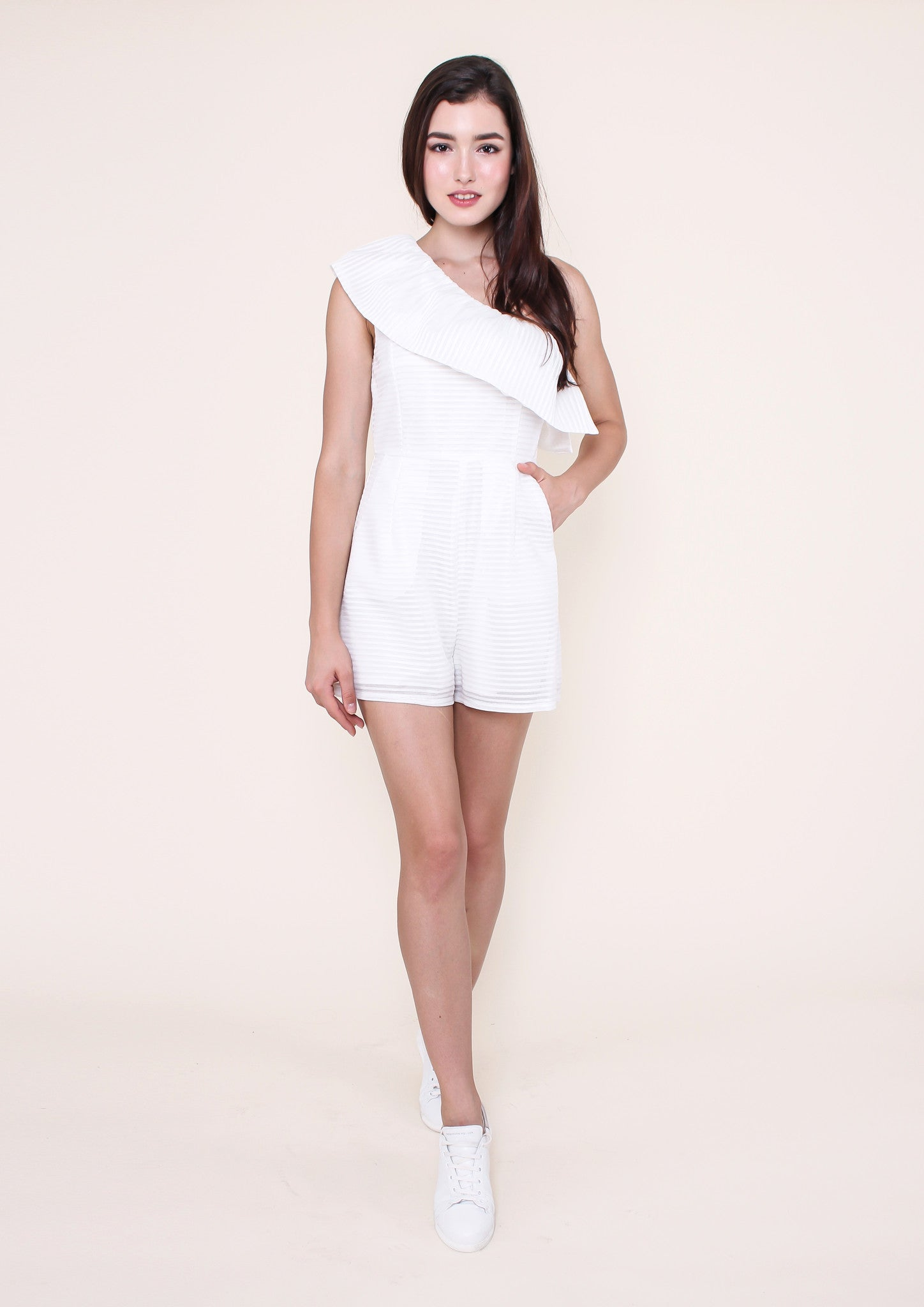 Feeling Butterflies Playsuit (White) - Moxie