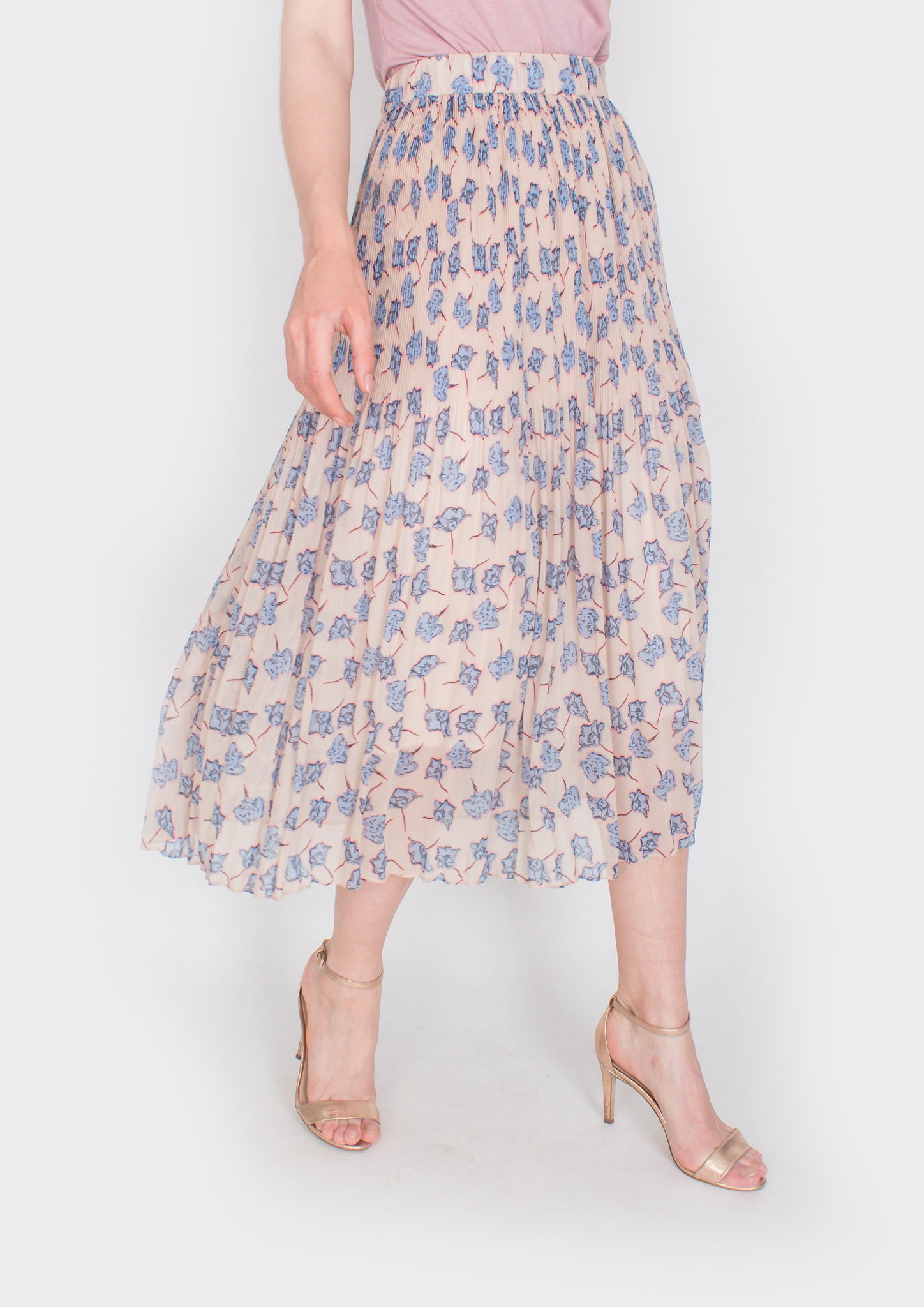 Vintage Floral Print Pleated Skirt (Cream)
