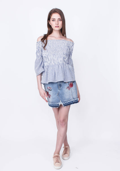 Byron Smocked Top (Blue/White) - Moxie