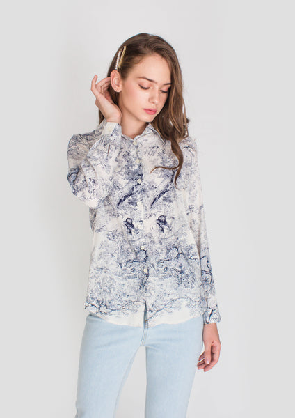 Mademoiselle Printed Collared Shirt