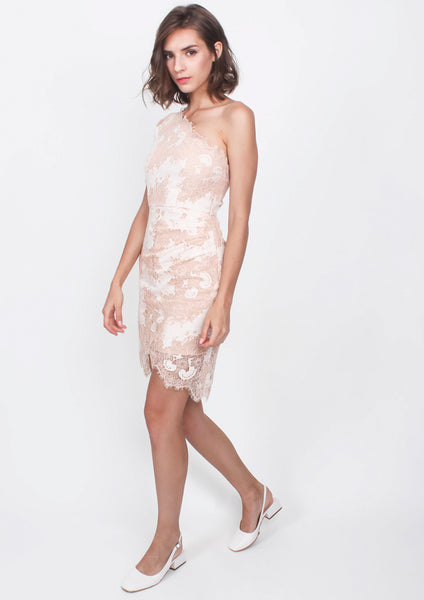 Everly Lace Toga Dress (Nude) - Moxie