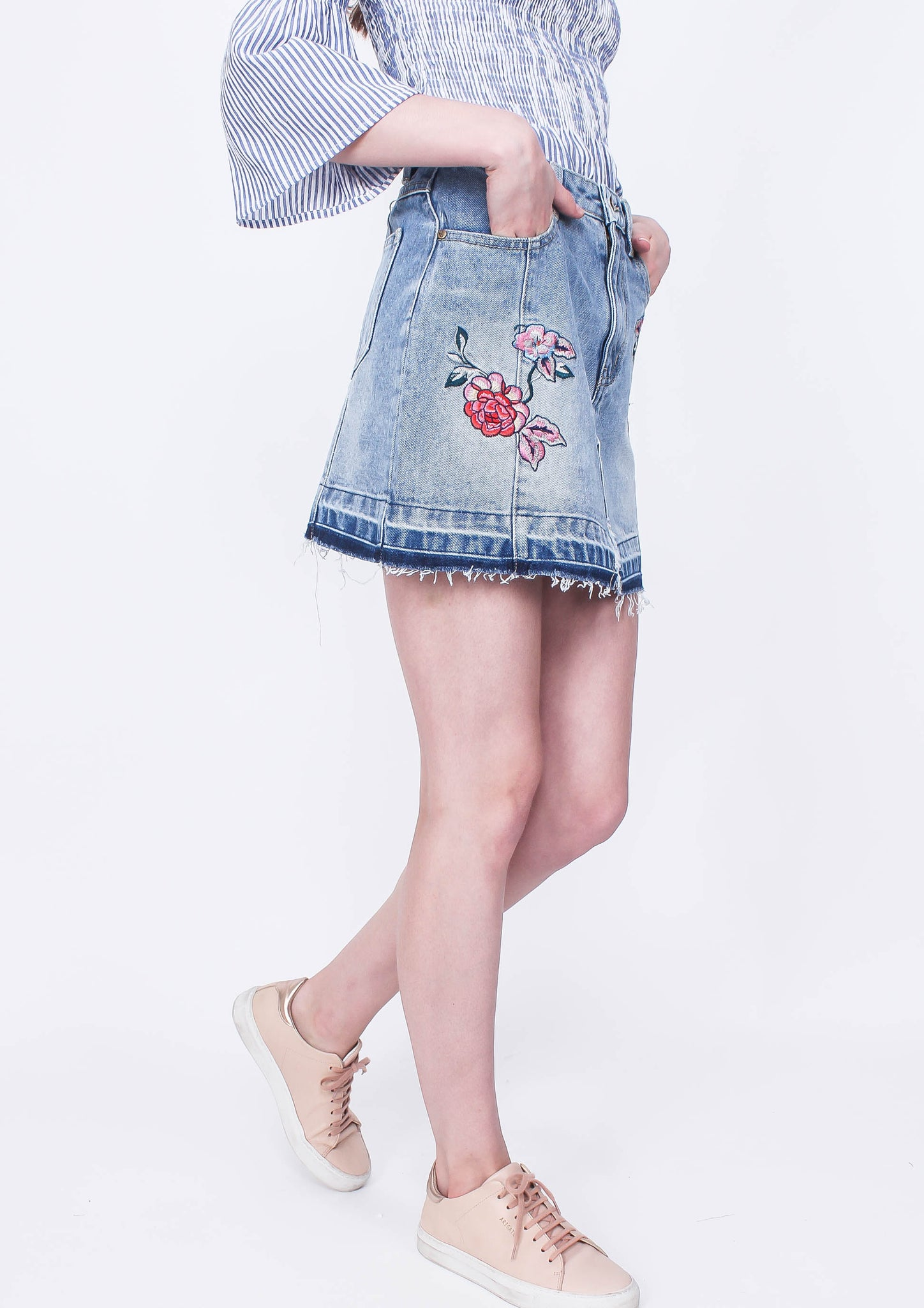 """Nurture"" Embroidered Skirt - Moxie"