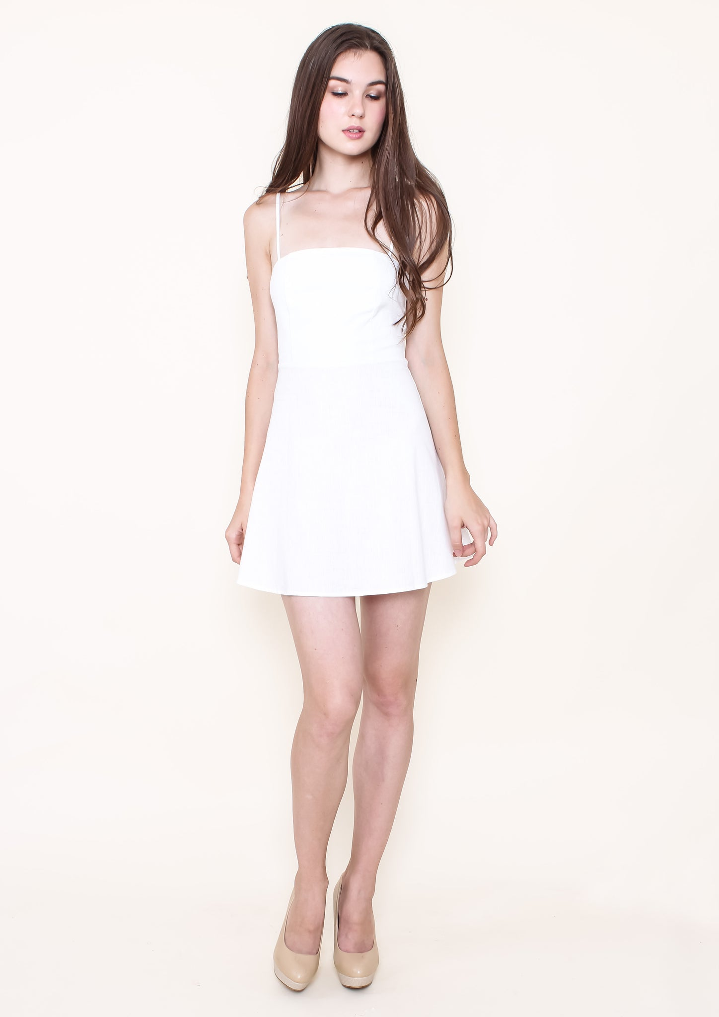 Ally White Dress (White) - Moxie